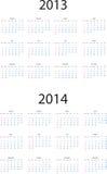 2013-2014 calendário Fotos de Stock Royalty Free