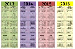 2013-2016. The years 2013-2016 calendars, schedule Vector Illustration