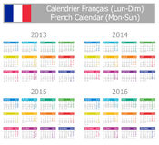 2013-2016 Type-1 French Calendar Mon-Sun. On white background Royalty Free Stock Images