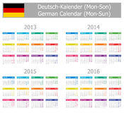 2013-2016 Type-1 German Calendar Mon-Sun. On white background Royalty Free Stock Photos