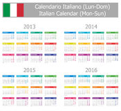 2013-2016 Type-1 Italian Calendar Mon-Sun. On white background Stock Illustration