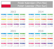 2013-2016 Type-1 Polish Calendar Mon-Sun. On white background Stock Images