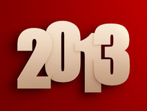 2013. Gold 2013 text on red background Stock Images