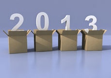 2013 3d from boxes. 2013 year 3d numbers from brown boxes Royalty Free Stock Image