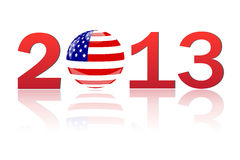 2013 America. 2013 image of the USA flag on a globe  on a white background Stock Images