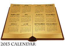 2013 ancient book calendar. Illustration of ancient book with calendar Royalty Free Stock Photos
