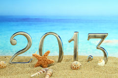 2013 auf dem Strand Lizenzfreie Stockbilder