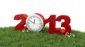 An 2013 avec l'horloge dans l'herbe   Images libres de droits