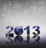 2013 with bauble blue Stock Photography