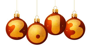 2013 baubles. Illustration of decorative 2013 Christmas baubles isolated on white background Royalty Free Stock Images