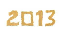 2013 bildeten von zerrissener Papierzahl Lizenzfreie Stockfotografie