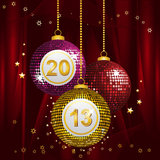 2013 bingo baubles. Bingo new year baubles on a red silk background Stock Photography