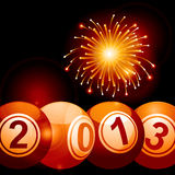 2013 bingo lottery balls and firework Stock Images