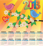 2013 bird calendar italian. 2013 bird calendar for children in italian Stock Photography