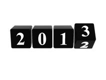 2013 in black boxes. 3d black cubes with white figures with year 2013 Stock Images