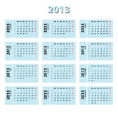 2013 blue calendar Royalty Free Stock Image