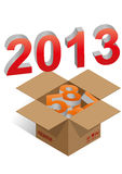 2013 box. Illustration of brown box with 2013 colorful text stock illustration
