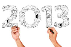 2013 business plan concept ideas. Hand drawing on whiteboard stock illustration