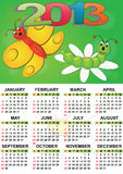 2013 butterfly calendar. For children stock illustration