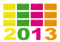2013 calendar. New calendar 2013 of colors in english Royalty Free Stock Image