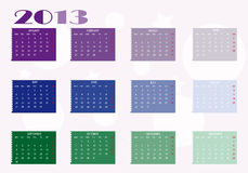 2013 calendar. New calendar 2013 in english Royalty Free Stock Photography