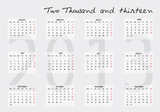 2013 calendar Stock Photos