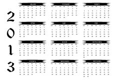 2013 calendar. New calendar year 2013 in English Royalty Free Stock Photos