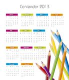 2013 calendar. With colored pencils over white background Stock Photo