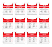 2013 Calendar. On white background Stock Photo