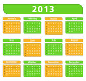 2013 Calendar. Green and yellow colors Stock Image
