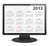 2013 Calendar. On the screen of computer monitor Stock Images