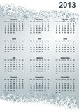 2013 calendar. With snowflakes on silver background Vector Illustration