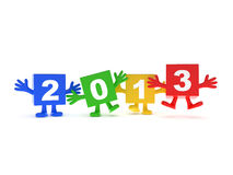 2013 calendar background. Happy colored cubes with hands up Royalty Free Stock Photo