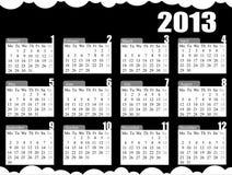 2013 Calendar Black & White. Calendar for the year of 2013 black & white stock illustration