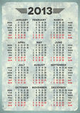 2013 calendar on blue aged paper Royalty Free Stock Photo