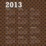 2013 calendar brown crossed background Royalty Free Stock Image