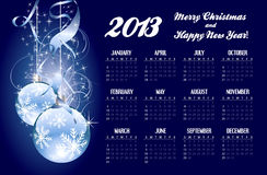 2013 calendar with Christmas greeting. In editable vector format royalty free illustration