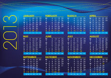 2013 calendar in english night mood Stock Photos