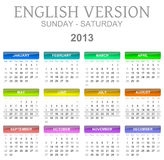 2013 calendar english version sun - sat. Colorful sunday to saturday 2013 calendar english version illustration vector illustration