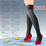 2013 Calendar female legs in stockings Stock Image