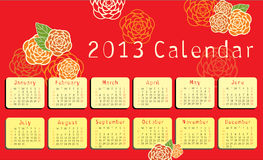 2013 calendar with floral ornaments Royalty Free Stock Photography