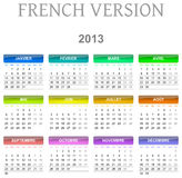 2013 calendar french version. Colorful monday to sunday 2013 calendar french version illustration Royalty Free Stock Images