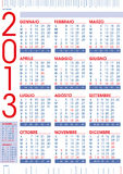 2013 calendar in italian with rulers. Blue and red stock illustration