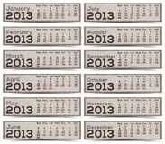 2013 Calendar Labels. 2013 Calendar brown Texture Mulberry Paper Stock Photo