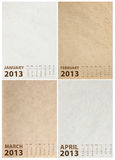 2013 Calendar on paper texture. Background Royalty Free Stock Image