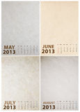 2013 Calendar on paper texture. Background Stock Photography