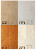 2013 Calendar on paper texture. Background royalty free illustration