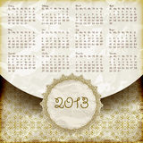 2013 Calendar in Retro Style. Retro style 2013 calendar, crumpled golden foil paper texture vector illustration
