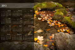 2013 Calendar on single page. 2013 calendar with nature image on a single page Royalty Free Stock Photos