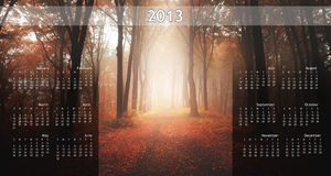 2013 Calendar on single page. 2013 calendar with nature image on a single page Royalty Free Stock Photo